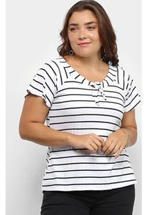 Blusa Plus Size Lecimar Listrada Manga Curta Feminina - Feminino-Branco