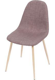 Cadeira Robin Linho Marrom Base De Metal Com Pintura De Madeira - 43061 - Sun House