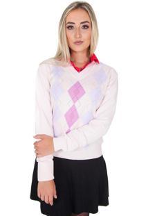 Suéter Damer Rosa Multi Geométrica