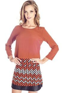 Blusa Cropped Lisa Colcci - Feminino-Marrom