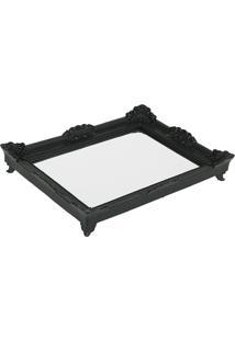 Bandeja Espelho Rococó Black M 6X39X28Cm Trevisan Concept