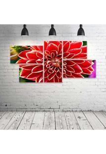 Quadro Decorativo - Red-Dahlia - Composto De 5 Quadros