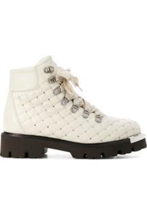 Baldinini Ankle Boot De Couro Com Tachas - Neutro
