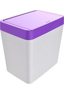 Lixeira Para Pia 5 Litros Smart - Branco/Roxo - Multistock