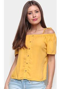 Blusa Cambos Bata Ombro A Ombro Botões Feminina - Feminino-Amarelo