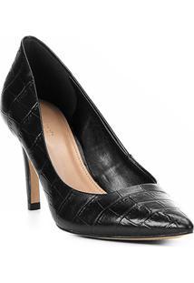 Scarpin Couro Shoestock Croco Salto Alto Bico Fino - Feminino-Preto