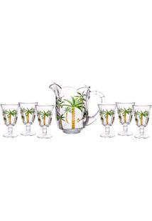 Conjunto Jarra Com 6 Taças De Cristal Palm Hand Painting Lyor 1,3L/240Ml