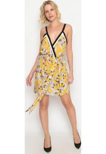 Vestido Florido Com Amarração & Transpasse- Amarelo & Brforum