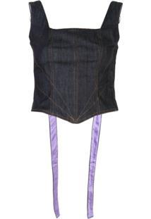 Fantabody Blusa Jeans Cropped - Azul