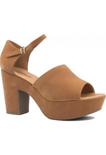 Sandália Zariff Shoes Plataforma Nobuck Fivela Marrom