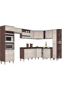 Cozinha Modulada 12 Peças - Poquema Bruna Ii C5 Capuccino/Amêndoa