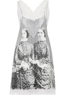 Burberry Vestido Com Detalhe De Renda E Estampa De Retrato Vitoriano - Cinza