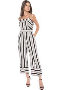 Macacão Lily Fashion Pantacourt Listras Off-White/Preto
