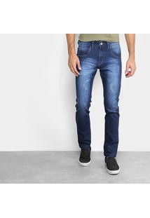 Calça Jeans Skinny Rock & Soda Estonada Puídos Masculina - Masculino-Azul
