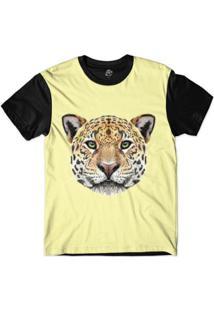 Camiseta Bsc Cara De Onça Masculina - Masculino-Amarelo