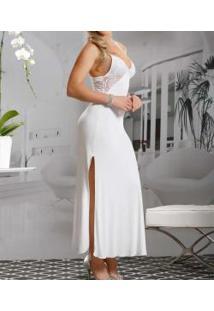 Camisola Longa Decote Em Renda Paulienne Lovely (8720-0) Liganete