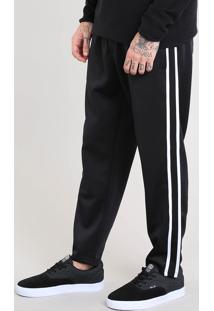 Calça Masculina Jogger Com Faixa Lateral Preta