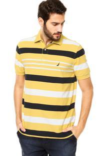 Camisa Polo Nautica Classic Fit Tag Amarela/Azul