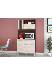 Cozinha Compacta 5 Portas Ellen Capuccino/Amêndoa - Lc Móveis