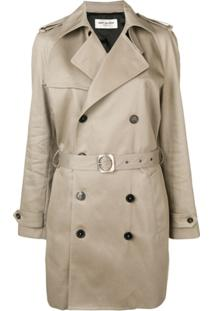 Saint Laurent Trench Coat Com Abotoamento Duplo - Neutro
