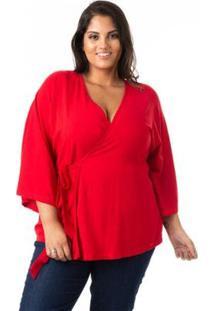 Blusa Com Nó Lateral Plus Size Confidencial Extra Feminina - Feminino-Vermelho