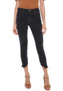 e2c86217f ... Calça Jeans Lez A Lez Skinny Cropped Destroyed Azul-Marinho