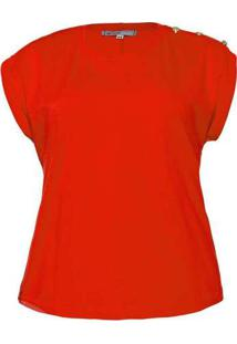 Blusa Almaria Plus Size New Umbi Com Botão Ombro V