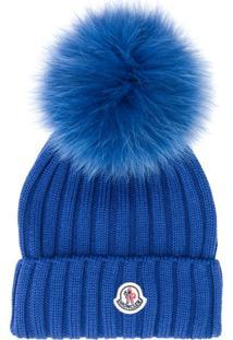 Moncler Gorro Canelado Com Pompom - Azul