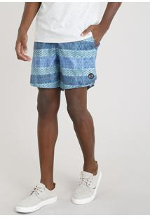 Short Masculino Blueman Estampado Stripes Com Bolso Azul