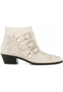 Chloé Ankle Boot Susanna Com Fivela E Salto 30Mm - Branco