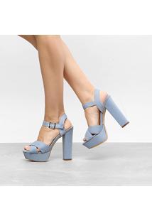 Sandália Shoestock Meia Pata Salto Alto Feminina - Feminino-Azul