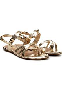Rasteira Look Fashion Multi Tiras Bolas - Feminino-Dourado
