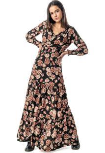 Vestido Preto Longo Floral Em Viscose