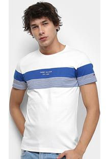 Camiseta Tommy Hilfiger Block Stripe Masculina - Masculino-Azul+Branco