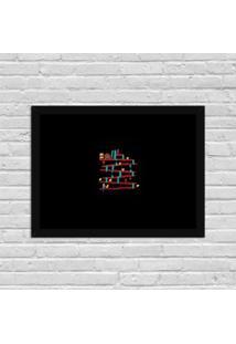 Quadro Decorativo Gamer Donkey Kong Abstrato Preto - Grande