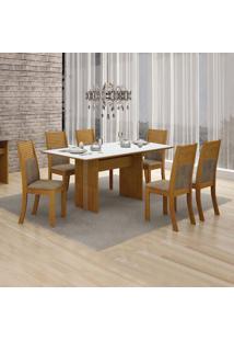 Conjunto De Mesa De Jantar Florença Com 6 Cadeiras Havai Veludo Imbuia Mel Branco