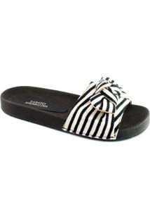 Chinelo Slide Com Laço Sapato Show - Feminino-Preto