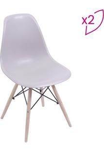 Jogo De Cadeiras Com 4 Pã©S- Bege & Madeira- 2Pã§Sor Design
