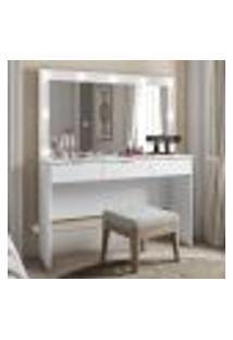 Penteadeira Camarim Branca Madesa Carly Com Espelho E 3 Gavetas