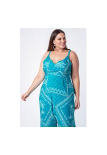 Macacáo Estampado Bandana Plus Size Azul Turquesa