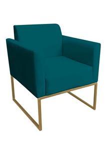 Poltrona Decorativa Base Industrial Dourada Maressa S20 Suede Azul Pav