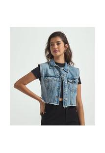 Colete Curto Jeans Com Bolsos E Franjas   Blue Steel   Azul   P