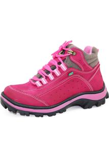 Coturno Adventure Trilha Feminino De Couro Legítimo Atron Shoes Rosa