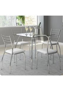 Mesa 1502 Vidro Incolor Cromada Com 4 Cadeiras 1700 Branca Carraro