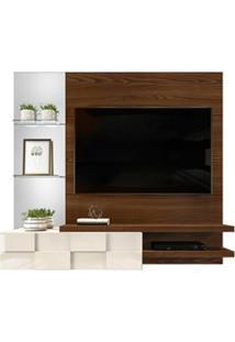 Painel Home Suspenso Para Tv Até 55 Pol. Com Espelho Lago Caiena/Creme