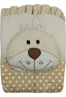 Capa De Carrinho Com Travesseiro Bruna Baby Poa G Bege