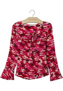 Blusa Le Lis Petit Bela Estampado Feminina (Camuflado Pink, 6)