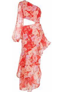 Alexis Vestido Assimétrico Sabetta Com Estampa Floral - Vermelho