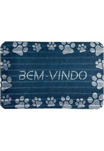 "Capacho Antiderrapante ""Bem-Vindo""- Azul Marinho & Brancwevans"