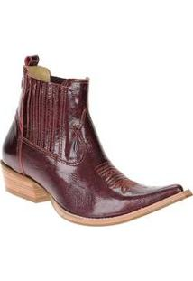 Bota Masculina Texana Verniz Bordô Cano Curto Com Elástico Na Lateral - West Country 12755